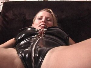 Leather clad lady oils herself up and gets fucked