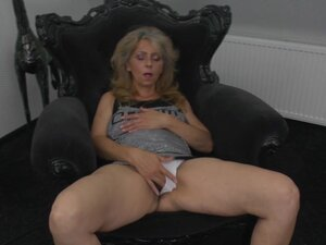 White panties come off and reveal her hairy milf