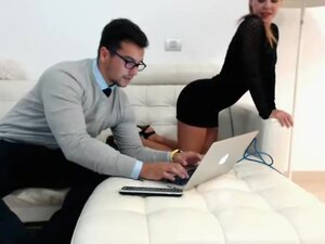 Elegant secretary peels off her tight black dress
