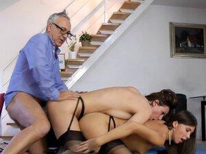 Stockinged milf fucked in british threesome