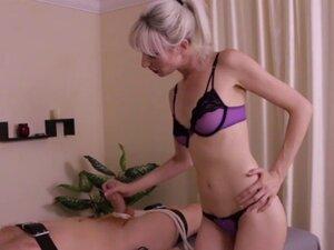 CBT masseuse wanking hard dick