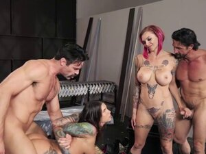Emo biker babes banged by two thugs