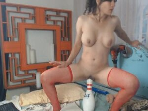 Wild Brunette Babe Fucked Herself With Huge Toys,