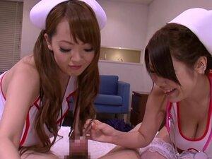 Busty japanese nurses in medical threeway fun,