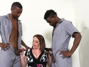 Busty cougar Maggie fucks with horny mechanics