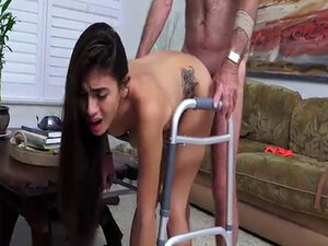 Michelle Martinez fucked by old man with a walker