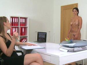 Brunette gets female agent wet, Hot busty dark