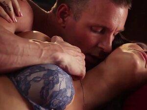 Slow hardcore erotic scene with brunette babe