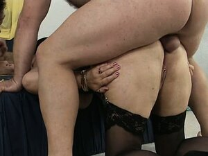 Horny old fat woman gets her ass fucked