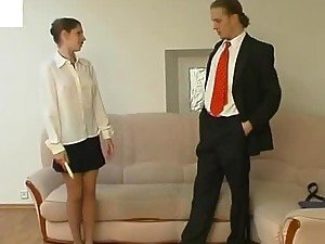 Fucking A Very Horny Secretary With Pantyhose On