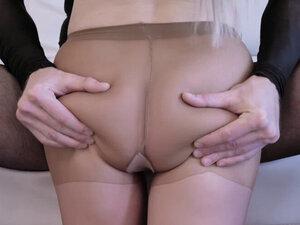 Stud rips Natasha James pantyhose open nd sticks