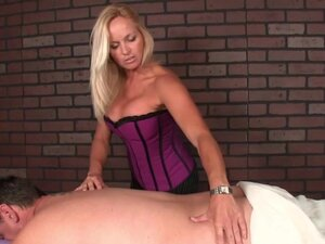 CBT masseuse spanking and flicking subs penis, CBT