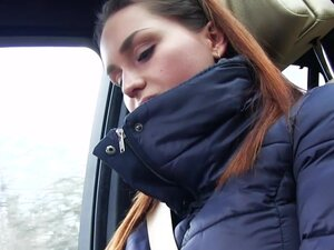 Busty teen flash tits and grab cock in car to