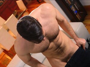 Handsome muscular stud jerking off his big thick