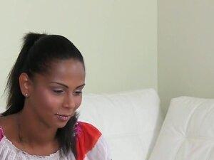 Huge tits female agent licks amateur gal on