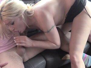 Chubby blonde fucks on backseat
