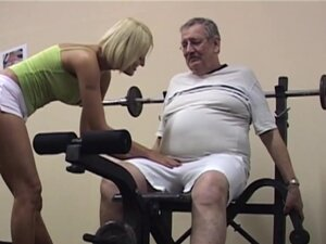 Busty blonde teen suck an old cock in gym, Big