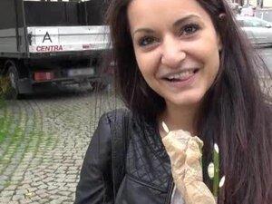Dilettante dark brown Czech beauty flashes boobs