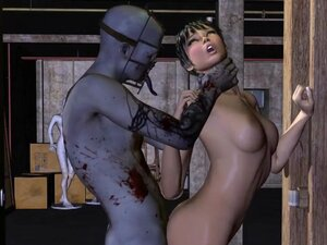 Short Haired 3D Babe Fucked Rough by a Zombie