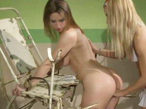 LEZDOM blonde nurse strapon drilling sub