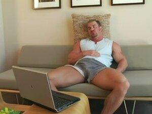 Hot gay bodybuilder masturbates with sex toys, Big