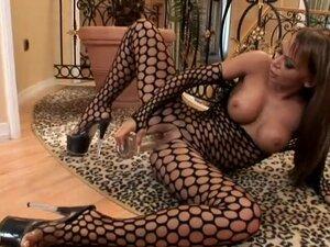 Christina Bella the girl in fishnet bodysuit rides