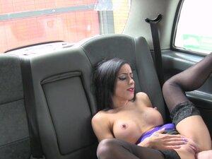 Slim hottie in stockings bangs in fake cab, Slim