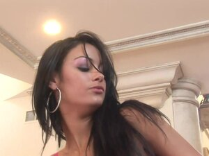 Tall beauty with sexy tits strokes his cock and