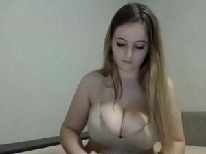 Big tits girl masturbates on