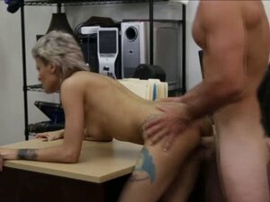 Short haired blonde sucks cock and gets fucked