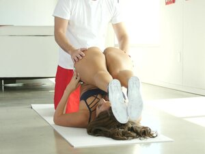 MILF doing yoga gets a real workout with her coach