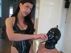 latex mistress makes spit and piss cocktail for