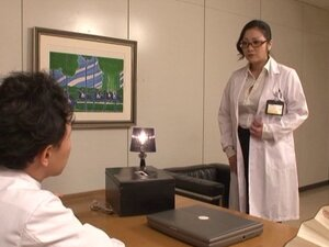 In the office a Japanese doctor fucked by two of