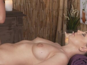 Blonde masseuse relaxing and rubbing brunette, Hot