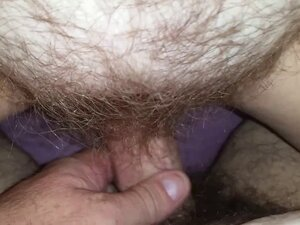 rubbing my cock on her soft hairy pussy before i