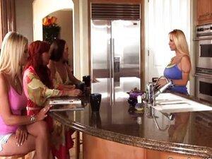 Four lesbian MILFs in nasty orgy