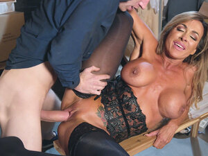 Big breasted mom Aubrey Black gets railed on the
