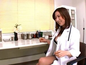 Jpn female doctor inserts objects and finger into
