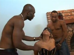 Interracial threesome with a blonde and two black