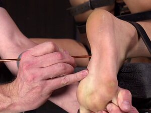 Babe gets feet torment and wax