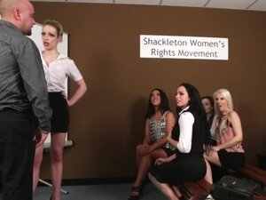 CFNM femdoms humiliating prick in group, CFNM