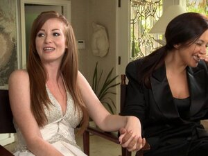Lovely lesbian bride and her new wife celebrate
