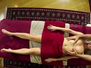 Sweet blonde enjoying passion massage by a big