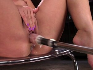 Babe gets fucking machine into her ass