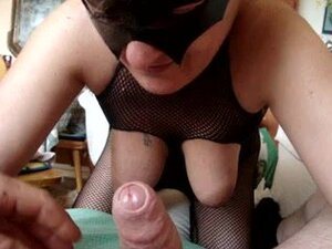Masked old mom sucking my cock to get facial
