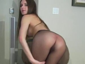 Hot action in black pantyhose