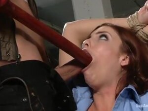 Policewoman gets her throat fucked