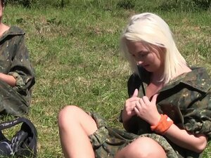 Outdoor hardcore group sex with a bunch of army