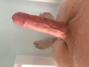 Exposing my big white cock in the bath!!!