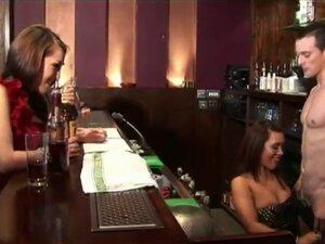 Cfnm bar sluts jerk off bartender and humiliate